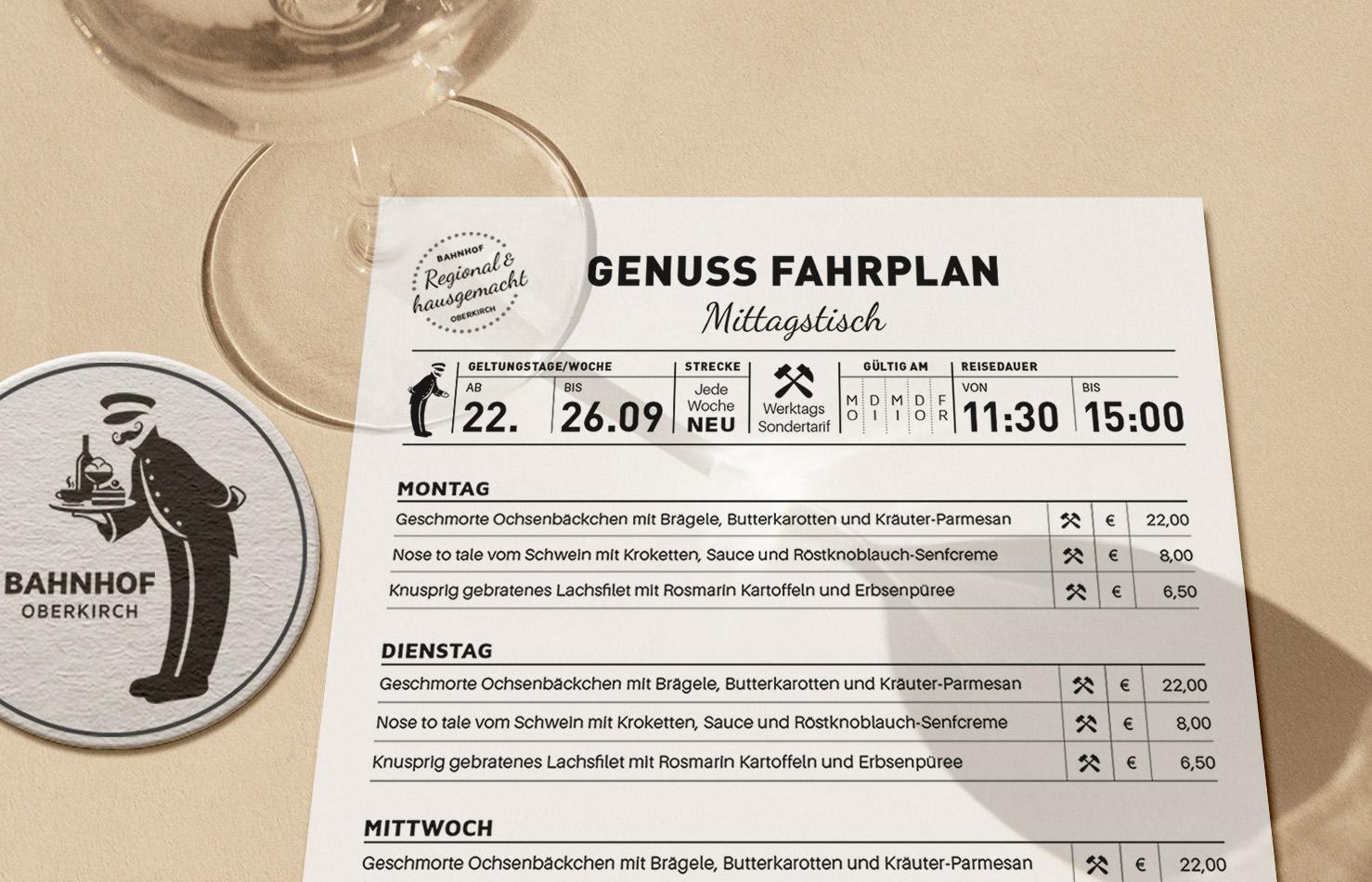 Auch die Mittagstischkarte wird mit vielen Konzept-Ideen umgesetzt