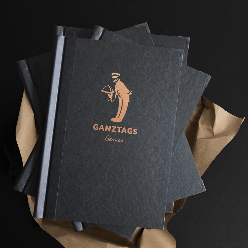 Umschlagdesign und Illustration Speisekarte